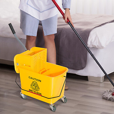 5 Gallon Commercial Wet Mop Bucket Wringer Combo Side Press Yellow Heavy Duty