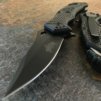 "8"" SPRING ASSISTED OPEN Black Tactical Rescue EDC Army Folding Pocket Knife"