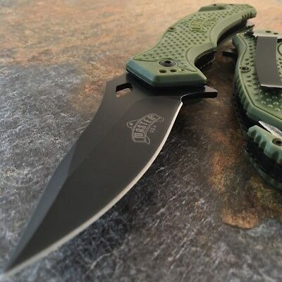 "8"" SPRING ASSISTED OPEN GREEN Tactical Rescue EDC Army Folding Pocket Knife NEW"