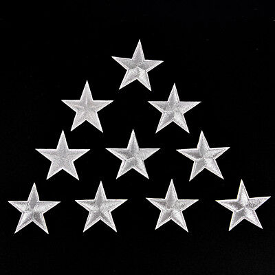 10PCs Silver Stars Embroidered Badges Iron On Patches Motif Applique Stickers DS