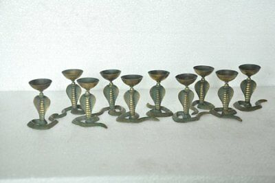 10 Pc Old Brass Handcrafted Inlay Engraved Unique Snake Shape Oil Lamps
