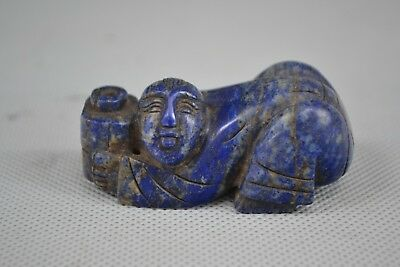 Antique Chinese rare Collectible Old lapis lazuli carve vintage figure Statue