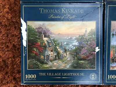 Thomas Kinkade The Village Lighthouse 1000 Piece Jigsaw Puzzle COMPLETE