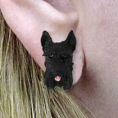 Schnauzer Black Cropped Ears Tiny One Dog Head Post Earrings Jewelry