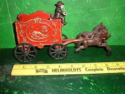 Vtg Cast Iron Horse Drawn Circus Wagon With two Horses & driver parts or repair
