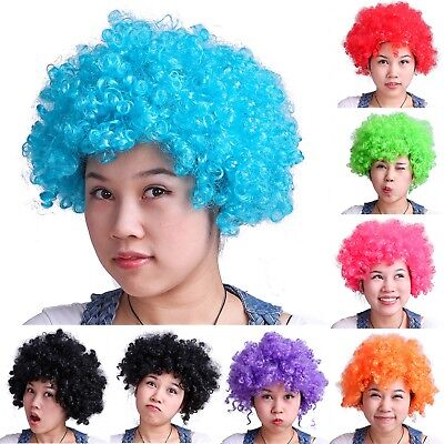 Neon Color Afro Curly Clown Halloween Costume Party Wig Fake Goofy Unisex Hair