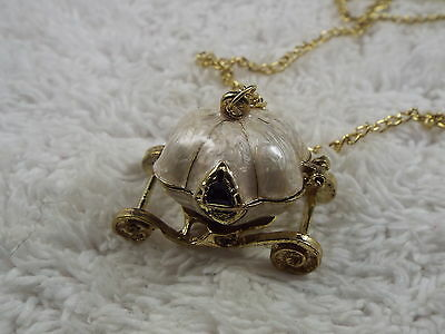 Cinderella Goldtone Cream Coach Carriage Locket Pendant Necklace  (C12)