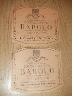 2 VINTAGE 1975 Barolo Monfalletto Unused Wine Labels Cordero Montezemolo Italy