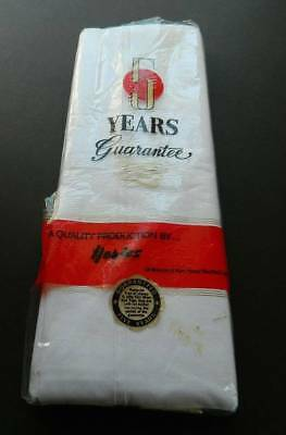 """Pair vintage UNUSED white cotton sheets with whipcord hems. 70"""" x 104"""""""