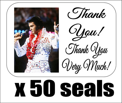 "50 Elvis Thank You Very Much! Envelope Seals / Labels / Stickers, 1"" x 1.5"""