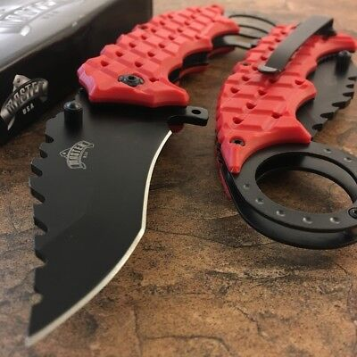 """8"""" RED KARAMBIT SPRING ASSISTED POCKET KNIFE Tactical Open Folding Claw Blade"""