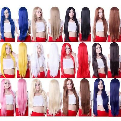 Adult Solid Color Wig Long Heat Resistant Straight Hair Style Womens Cosplay Wig