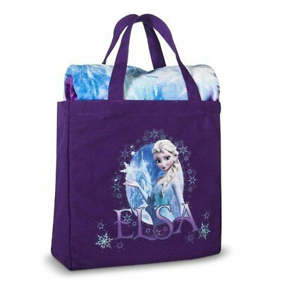 Disney Frozen Elsa 2 Piece Silk Touch Throw & Canvas Tote Set - Purple