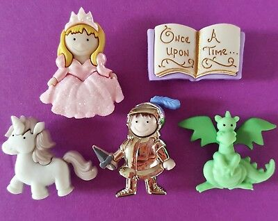 ONCE UPON A TIME Princess Dragon Unicorn Book Knight Dress It Up Craft Button