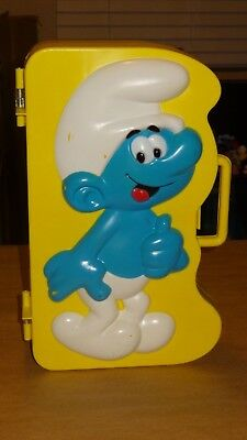 1983 Smurf Collector's Figurine Carrying Case & Lot of 24 Vintage Smurfs