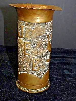 WWI British Trench Art Vase Signed JEB Stippled Winchester Hotchkiss PATN 1877