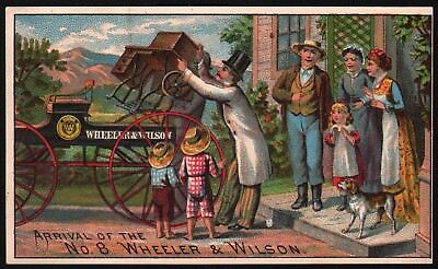 Vintage trade card WHEELER and WILSON No 8 sewing machine Boston excellent+ cond