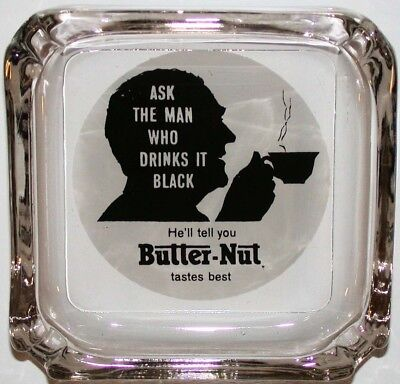 Vintage glass ashtray BUTTER NUT silhouette of man drinking coffee n-mint cond