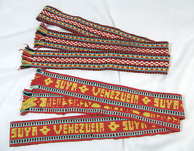 Woven Fibers Bright Colors Fringed Sash Belts.  Venezuela  Lot of Two