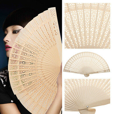 Flower Pattern Carved Wooden Folding Fan Hand Carry Oriental Chinese Japanese