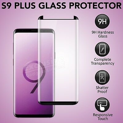 100% 9H Tempered Glass Screen Protector For Samsung Galaxy S9 Plus - Black
