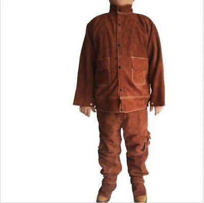 Leather Welding Brown Jacket Coat Trousers Protective Clothing Suit for Welder e