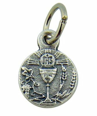 Chalice with IHS Host 1/2 Inch Silver Tone Medal First Communion Charm Pendant