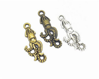DIY 16pcs MIX Tibet silver octopus Necklace Charm Pendant beads Jewelry Making !