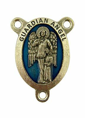 Silver Toned Base Blue Enamel Guardian Angel Pray for Us Rosary Centerpiece