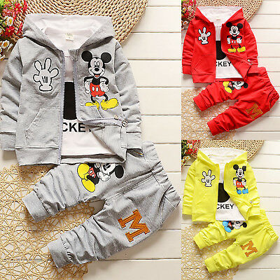 Mickey Mouse Kids Baby Boys Girls Hoodie Jacket T shirt Pants Outfit Set Clothes