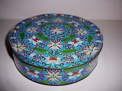 Mosaic Biscuit Tin Pretty Blue and Green Design Collectable Decorative