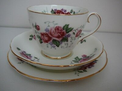 Adderley Trio Cup Saucer Plate Made in England Dark Pink Roses H618 Vintage