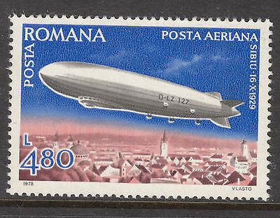 ROMANIA 1978 4.80  L Zeppelin Air mail MINT UNHINGED spot on gum