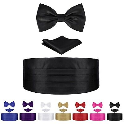 Mens Tuxedo Set 3 Piece Satin Cummerbund Bowtie Pocket Square Formal Wedding Set