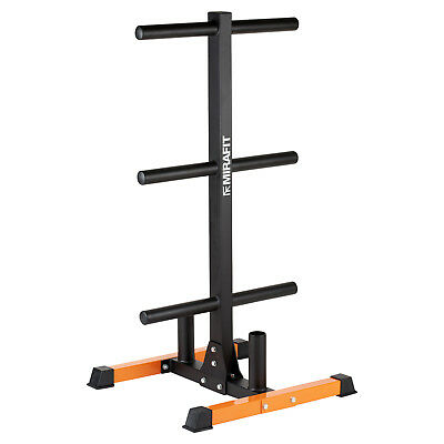 Mirafit Olympic Weight Disc/Bumper Plate Storage Tree Rack & Bar Holder Stand 2""