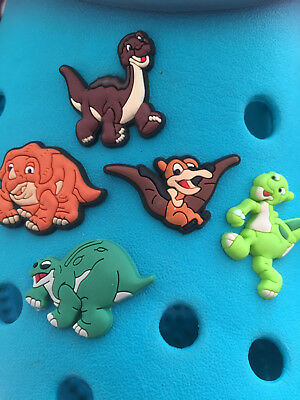 5 Land Before Time Dinosaur Shoe Charms For Crocs & Jibbitz Wristbands