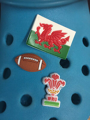 3 Welsh Rugby Shoe Charms For Crocs & Jibbitz Wristbands.