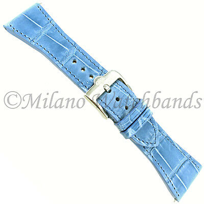 26mm Glam Rock High Quality Hand Made Light Blue Genuine Alligator Watch Band