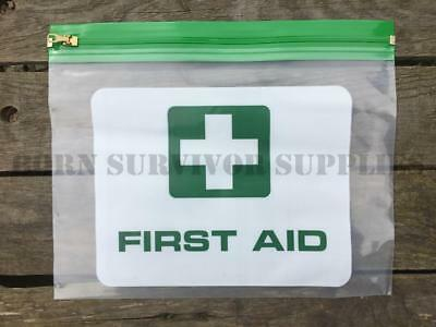 2 x CLEAR PLASTIC FIRST AID KIT POUCH - Empty Trauma Bag Wallet Survival Case
