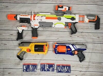 Nerf Gun Bundle Modulus + Attachments + Strongarm + Maverick Rev-6 Inc.  Bullets