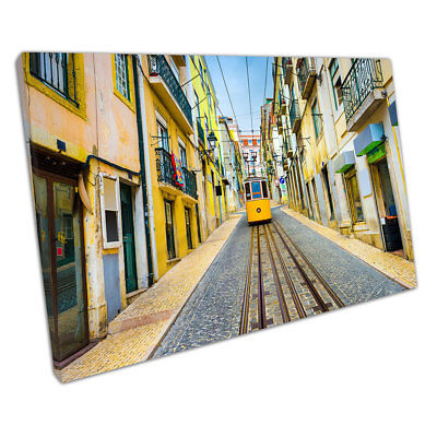 Old Town city of Lisbon with yellow Tram street Portugal Ready to Hang X1209