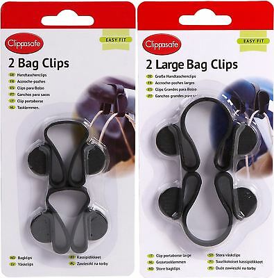 Clippasafe PRAM/STROLLER/PUSHCHAIR/BUGGY BAG CLIPS x2 Baby Travel Accessory BN