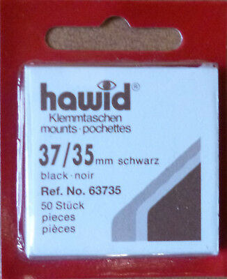 HAWID STAMP MOUNTS BLACK Pack of 50 Individual 37mm x 35mm - Ref. No. 63735