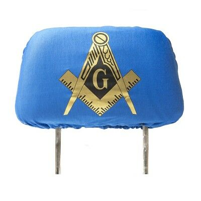 One Masonic Headrest Cover- Blue - Mason Freemason