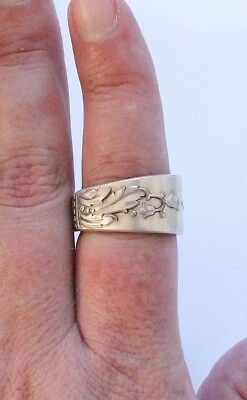Vintage Silverplate Silver Floral Spoon Ring
