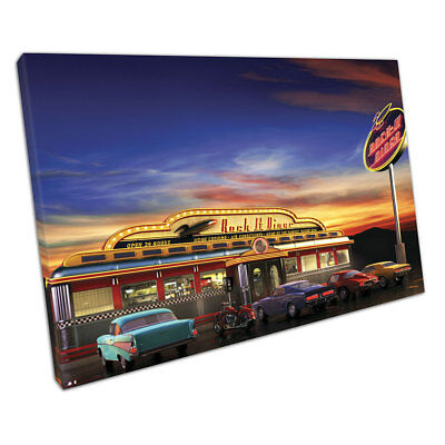 Retro roadside cafe American Diner Classic Car Drive In Ready to Hang X1591