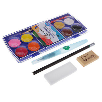 Watercolor Pigment Set for Children 12 Colors Solid With Water Brush Sponge