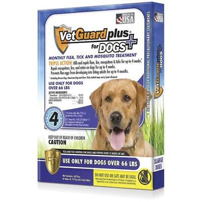 NEW VetGuard Plus Flea, Tick & Mosquito Treatments for Dogs over 66lbs Vet Guard