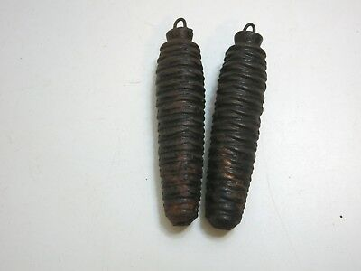 MATCHING PAIR OF 2 VINTAGE CUCKOO CLOCK PINECONE CAST IRON WEIGHTS n11