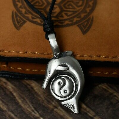 Yin Yang Dolphin Silver Pewter Charm Necklace Pendant Jewelry